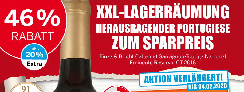 46 % sparen - Ausdrucksvoller Portugieser mit viel Temperament - Fiuza & Bright Cabernet Sauvignon-Touriga Nacional Eminente Reserva IGT 2016