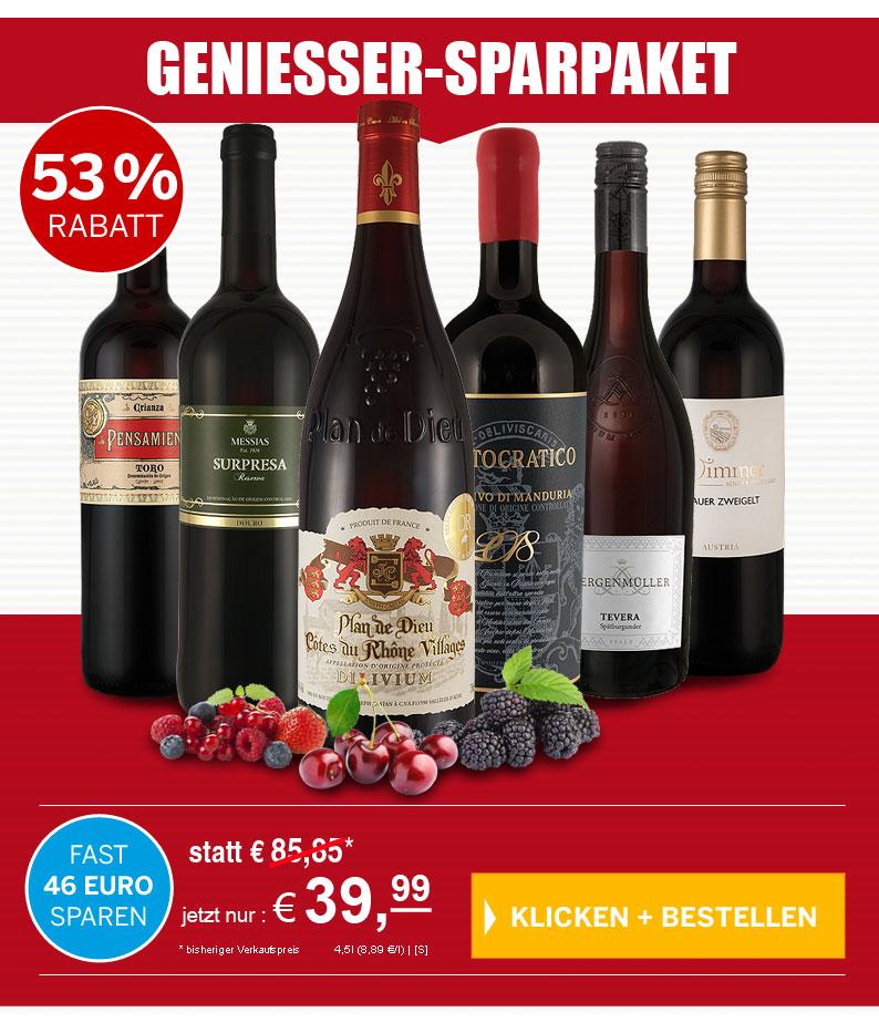 53 % Rabatt - Probierpaket Ausgewählte Rotweine