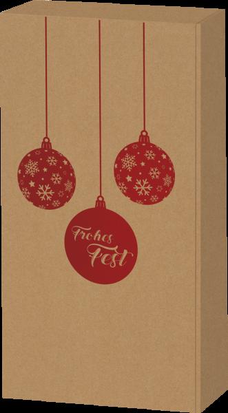 Präsentkarton Naturoptik mit Weihnachtskugel für 2 Flaschen