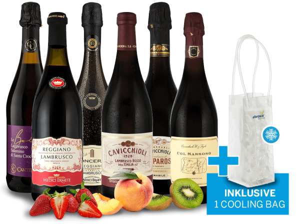 Probierpaket Lambrusco mit 6 Flaschen inkl. Ice Cooling Bag