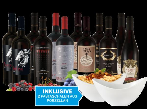 Italienisches Mafia Rotwein-Paket inkl. zwei Pastaschalen