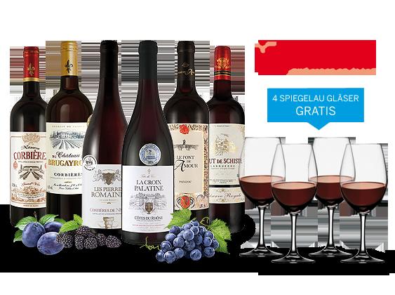 Südfrankreich-Genusspaket mit 6 Flaschen und 4 Gläser gratis8,89€ pro l