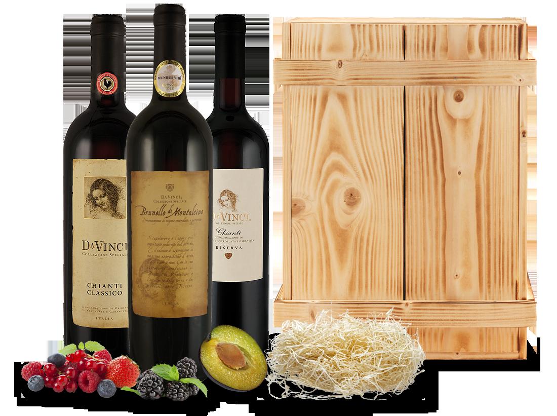 Kennenlernpaket Cantine Leonardo Da Vinci aus der Toskana in einer Holzkiste18,33? pro l