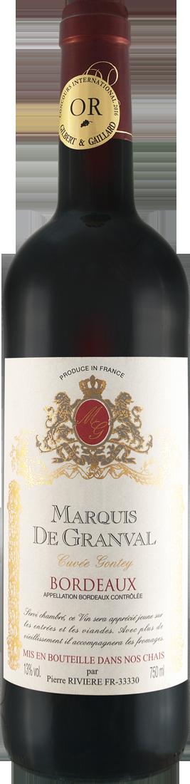 Rotwein Maison Rivière Marquis de Granval Cuvée Gontey AOC Bordeaux 7,99€ pro l
