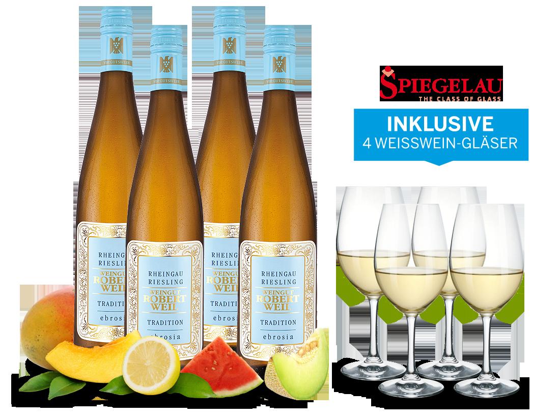 Kolkwitz Angebote Vorteilspaket Wein des Monats November: Robert Weil Riesling Tradition inkl. 4 Weißweingläser16,66€ pro l