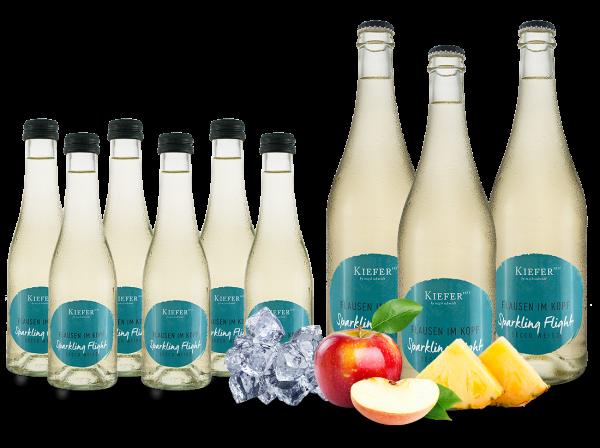 Vorteilspaket 9 Flaschen Kiefer Secco Weiß Flausen im Kopf 3 x 0,75l und 6 x 0,2l