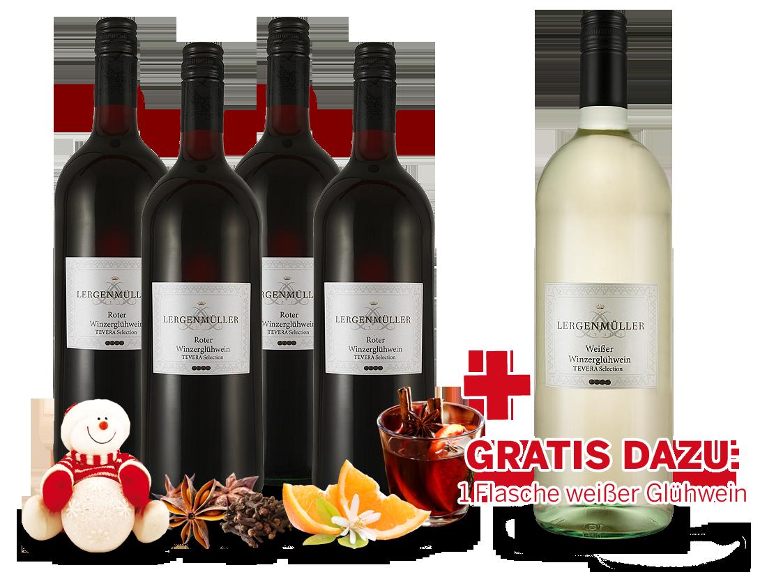 Vorteilspaket Minerva 4 Flaschen Roter Winzerglühwein mit 1 Flasche gratis in weiß5,99€ pro l - broschei