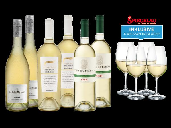 Vorteilspaket Sonnige Zeiten für Weiß- & Roséwein plus gratis 4 Spiegelau-Weißweingläser