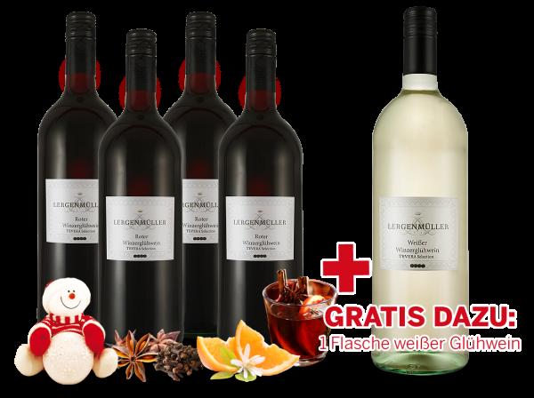 Vorteilspaket Minerva 4 Flaschen Roter Winzerglühwein mit 1 Flasche gratis in weiß