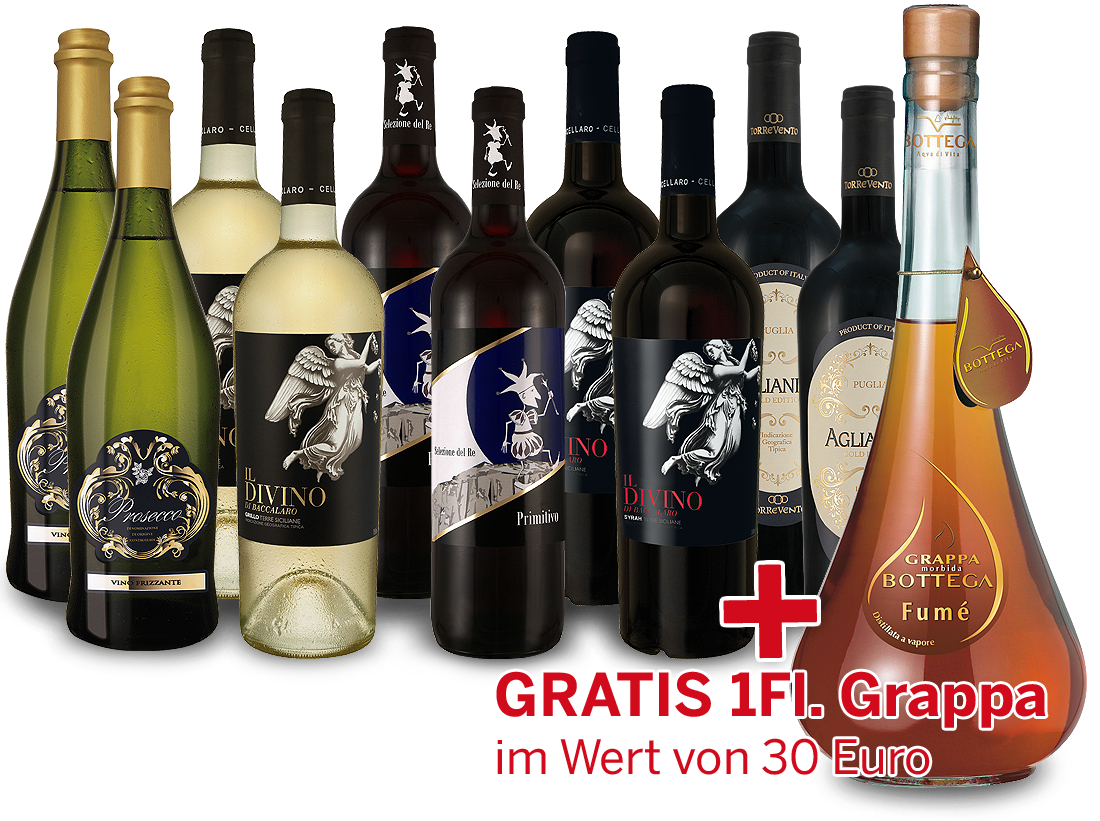 Paket Italien zum Entdecken inkl. 1 Flasche Grappa gratis9,32? pro l