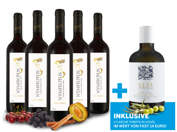 Vorteilspaket 5 Fl. Nymfeotos inkl. 1 Fl. Olivenöl Extra virgin olive oil ELIÁ