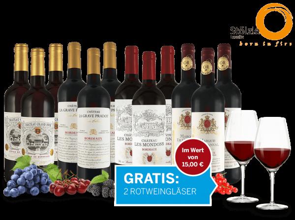 Das Bordeaux Topseller Probierpaket und 4 Gläser gratis