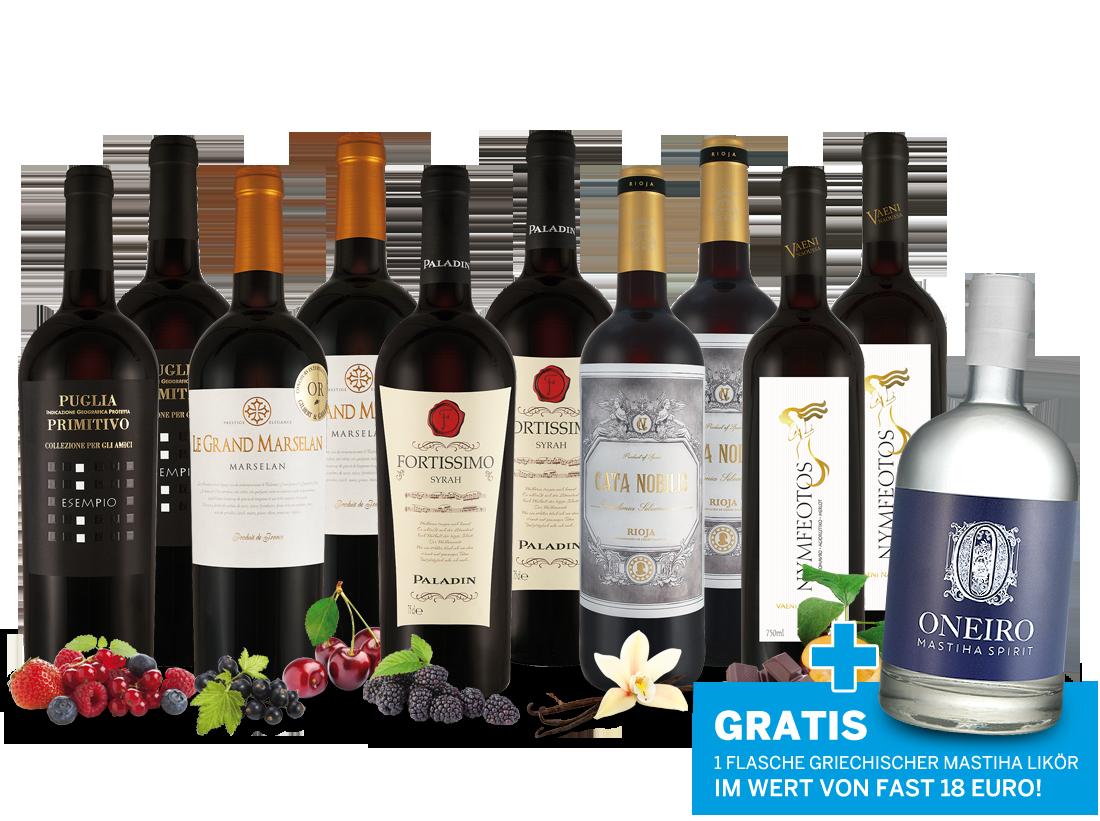 Paket Purer Rotwein-Genuss vom Mittelmeer und 1 Flasche Mastiha ONEIRO gratis9,33? pro l