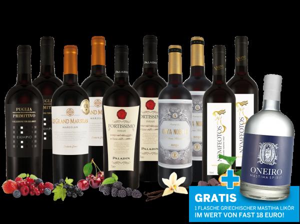Paket Purer Rotwein-Genuss vom Mittelmeer und 1 Flasche Mastiha ONEIRO gratis