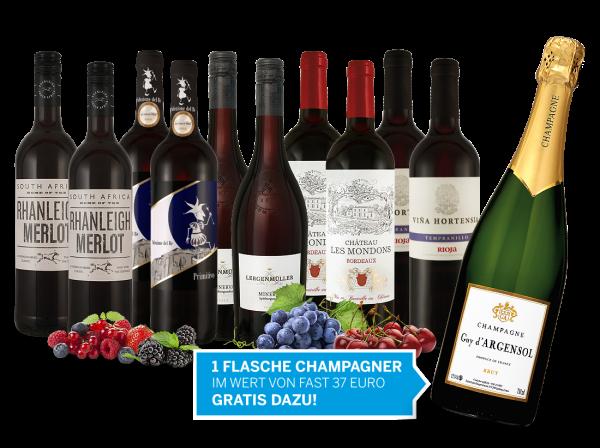 Köstliche Weine für die Festtage und 1 Flasche Champagner gratis