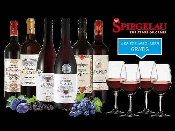Südfrankreich-Genusspaket mit 6 Flaschen und 4 Gläser gratis