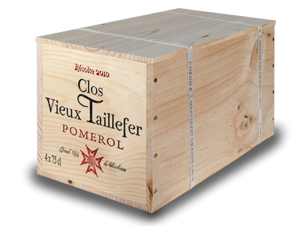 Clos Vieux Taillefer Pomerol AOC mit 4 Flaschen in der Original-Holzkiste