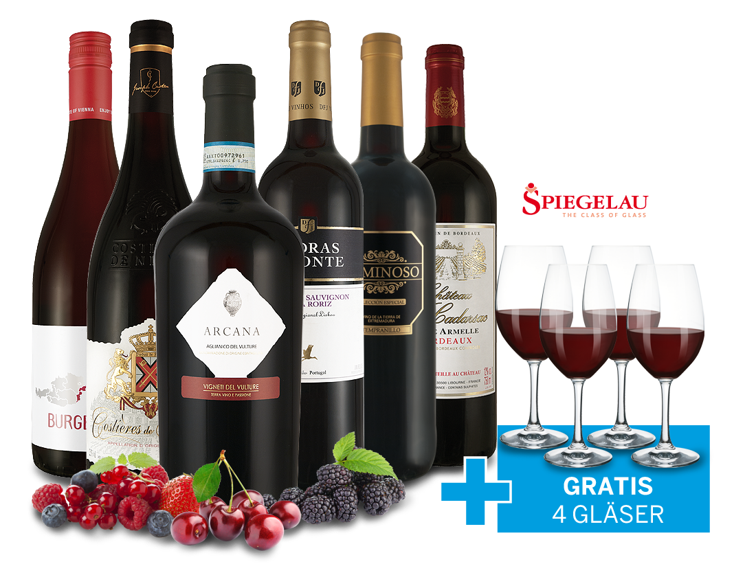 Sommerwein-Kollektion Rotwein inkl. 4 Rotweingläser8,89€ pro l