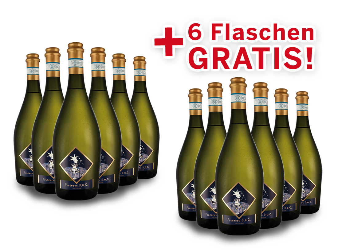 Vorteilspaket 12 für 6 Viticoltori Ponte Prosecco Frizzante Selezione del Re8,43? pro l