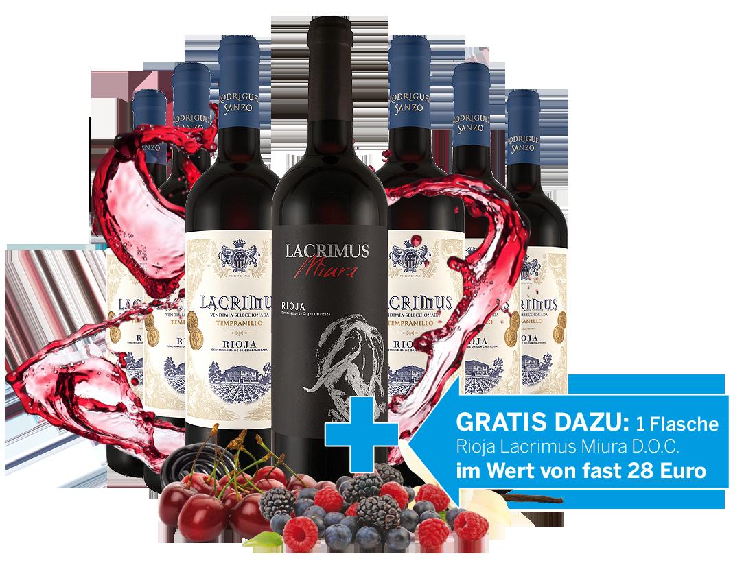 Vorteilspaket 6 Fl. Javier Rodriguez Lacrimus und 1 Fl. Lacrimus Miura gratis11,11? pro l
