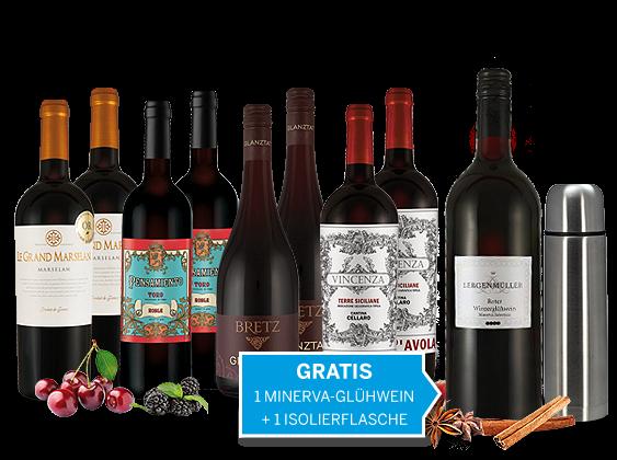 Weihnachts-Schnäppchen-Weinpaket mit 1 Fl. roter Winzerglühwein und Isolierflasche gratis