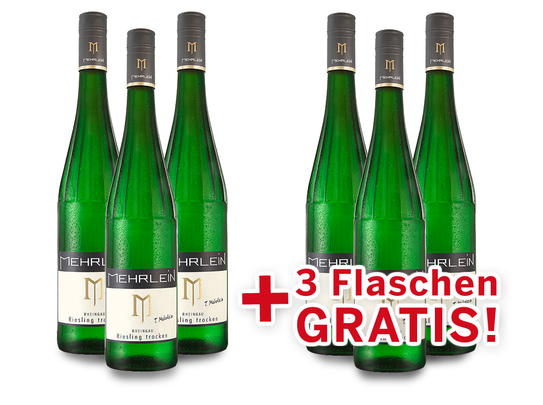 Vorteilspaket 6 für 3 Mehrlein Rheingau Riesling8,20? pro l