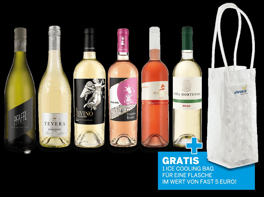 Sparpaket mit 6 Flaschen Weiß- & Roséweinen mit gratis Kühltasche8,89? pro l