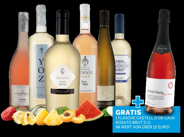 Probierpaket Weiß- und Roséweine im Genießermix mit 1 Flasche Cava Rosé gratis