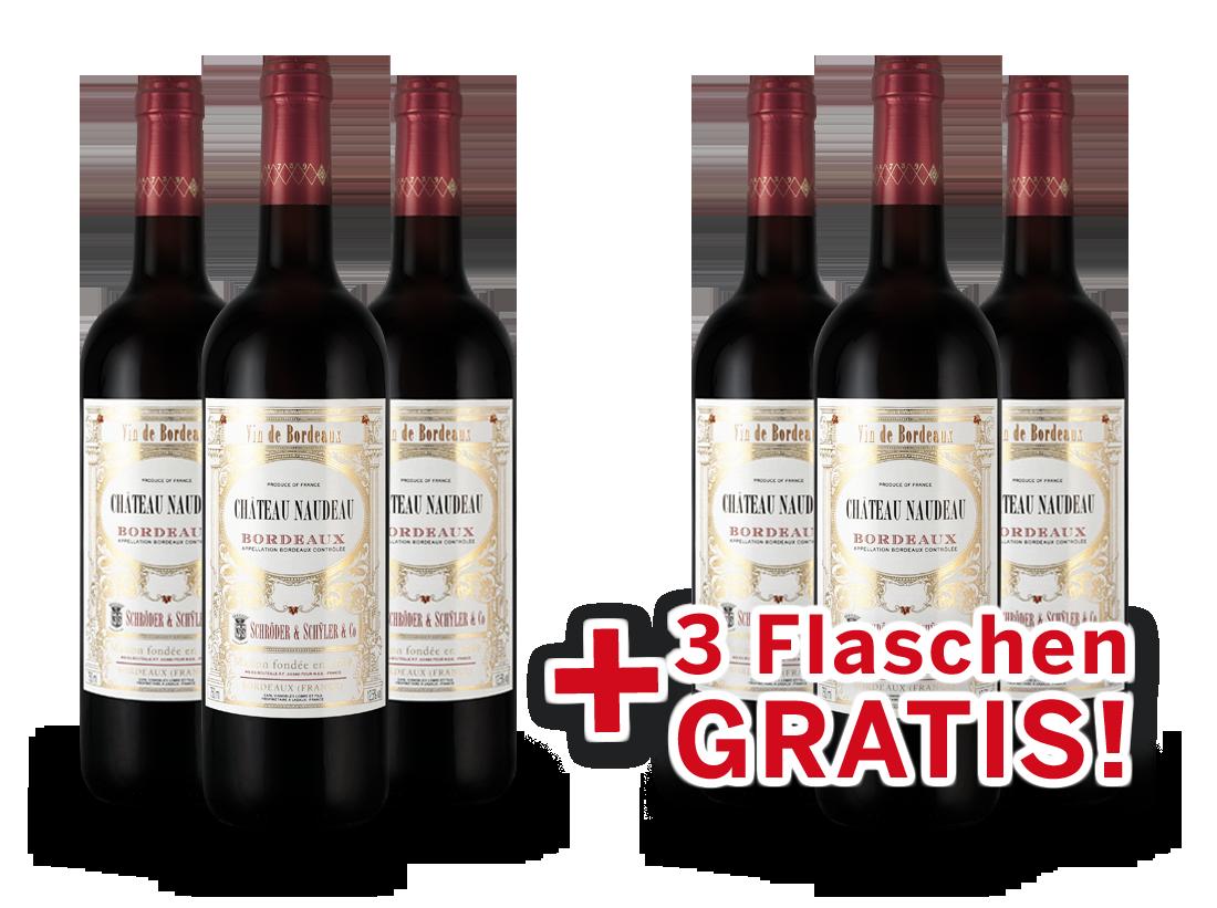 Vorteilspaket 6 für 3 Schröder & Schÿler Château Naudeau Bordeaux8,89? pro l