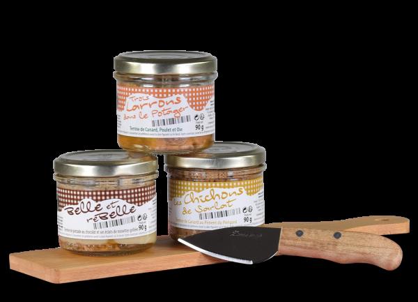 Valette 'Die Welt des Apéritifs' inkl. 3 Terrinen à 90 g (270 g gesamt) & Schneidebrett mit Messer