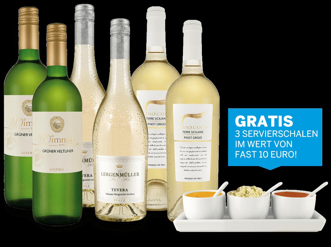 Vorteilspaket 3 x 2 Weißwein-Lieblinge mit gratis Saucen-Servierset aus Keramik8,89? pro l