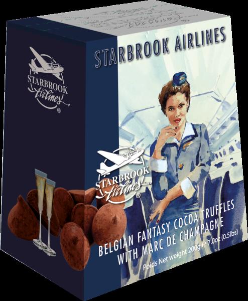 Starbrook Airlines Belgisches Kakaokonfekt mit Champagner 200 g