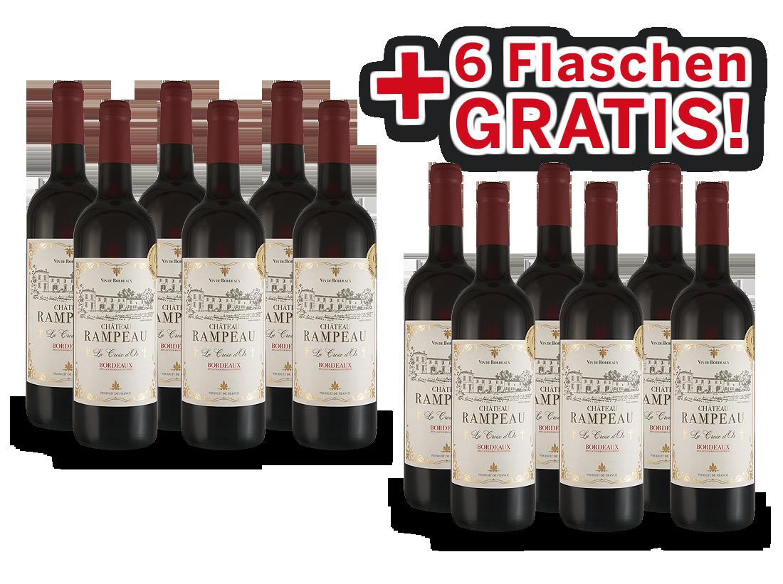 Vorteilspaket 12 für 6 Château Rampeau « La Croix dOr » Bordeaux8,33? pro l