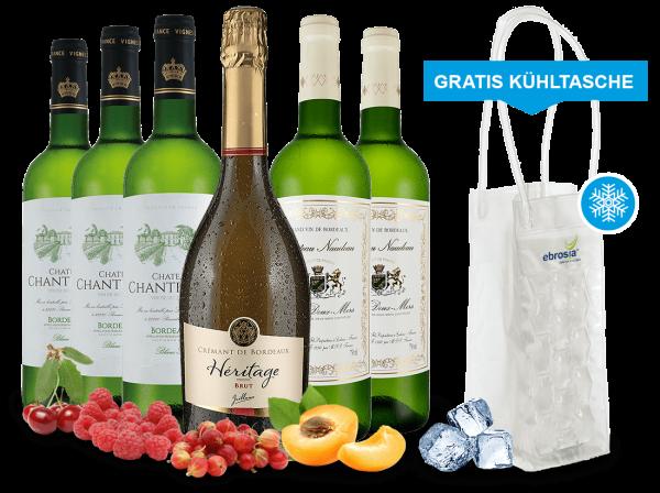 Probierpaket Bordeaux Weißweine inkl. Crémant und gratis Cooling Bag