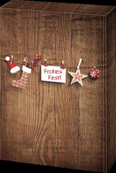 Präsentkarton Holzoptik Frohes Fest für 3 Flaschen