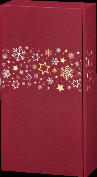 Präsentkarton LINO Sternenband rot für 2 Flaschen