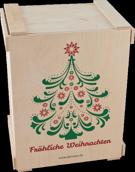 Holzkiste 'Fröhliche Weihnachten' für 6 Flaschen natur faltbar