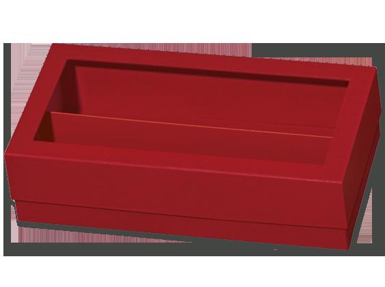 Stülpdeckelschachtel Eleganz Rot für 2 Flaschen mit Folienfenster