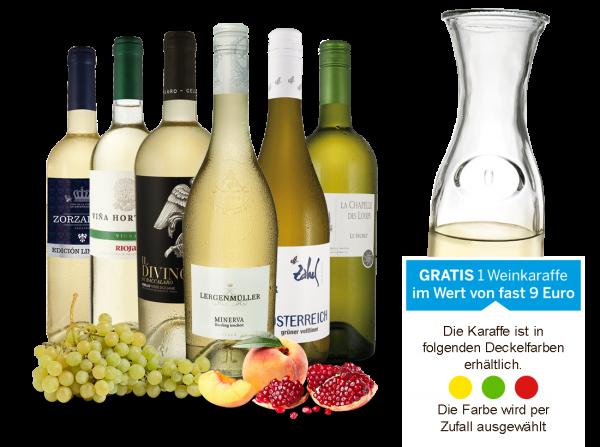 Das Weißwein Sparwein-Vorteilspaket mit gratis Weinkaraffe