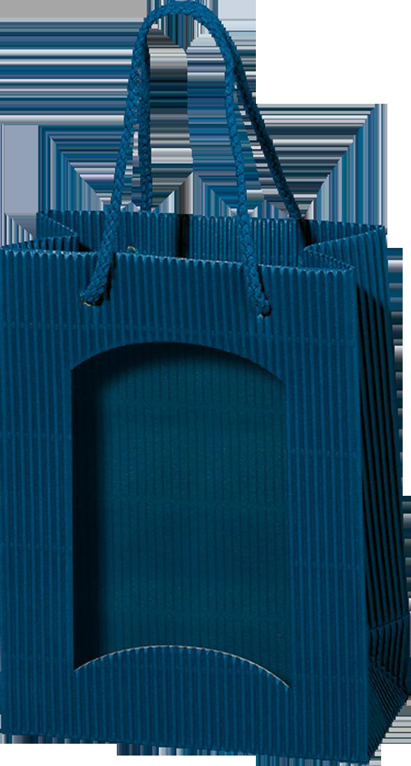 Papiertüte offene Welle Blau mit Folienfenster für Bocksbeutel oder 3 Piccoloflaschen - broschei