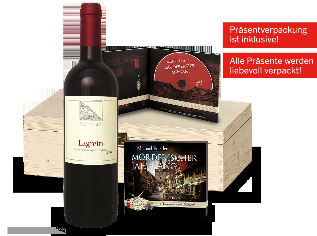 Rotwein Präsent Südtiroler Krimivergnügen mit 1 Flasche Lagrein & 1 Hörspiel Südtirol