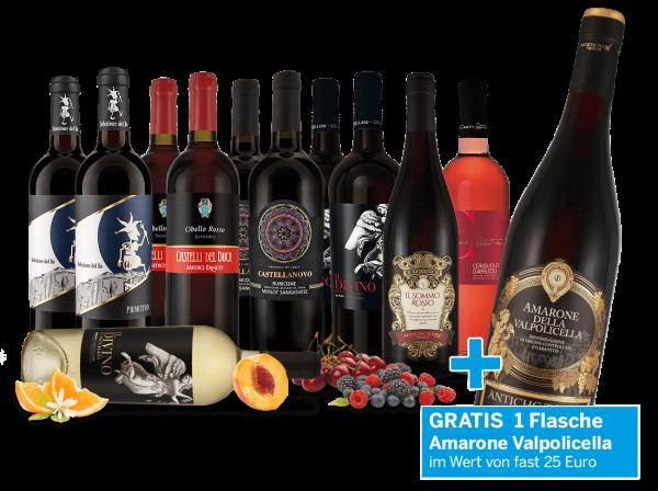 Vorteilspaket - Edle italienische Weine + gratis Amarone