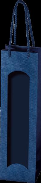 Hochwertige Papiertüte Prestige Topazblau mit Folienfenster für 1 Flasche