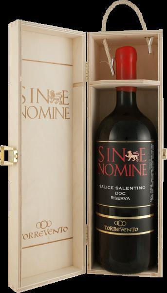 Torrevento Salice Salentino Rosso Riserva Sine Nomine DOC 1,5l in edler Holzkiste