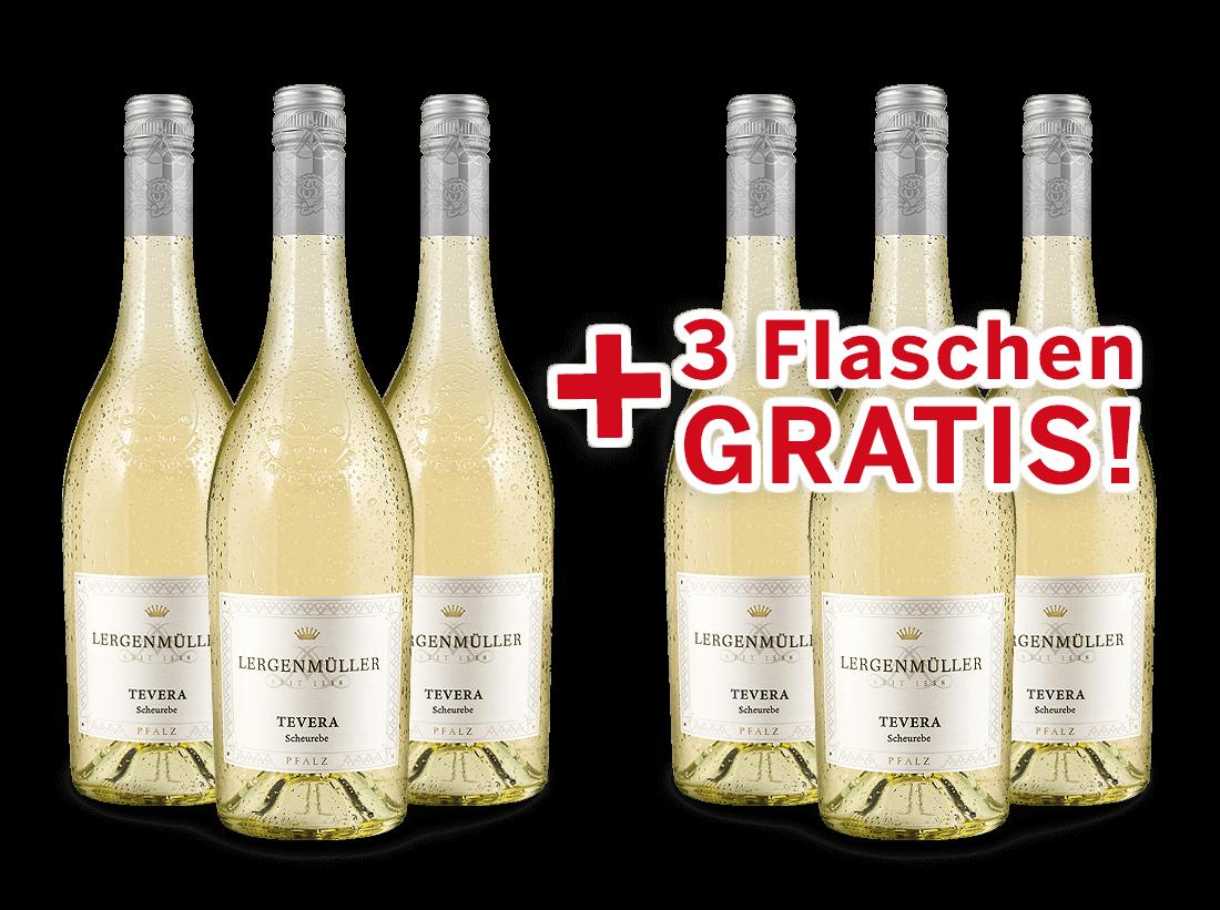 Vorteilspaket 6 für 3 Lergenmüller Scheurebe Minerva / TEVERA feinherb8,89? pro l
