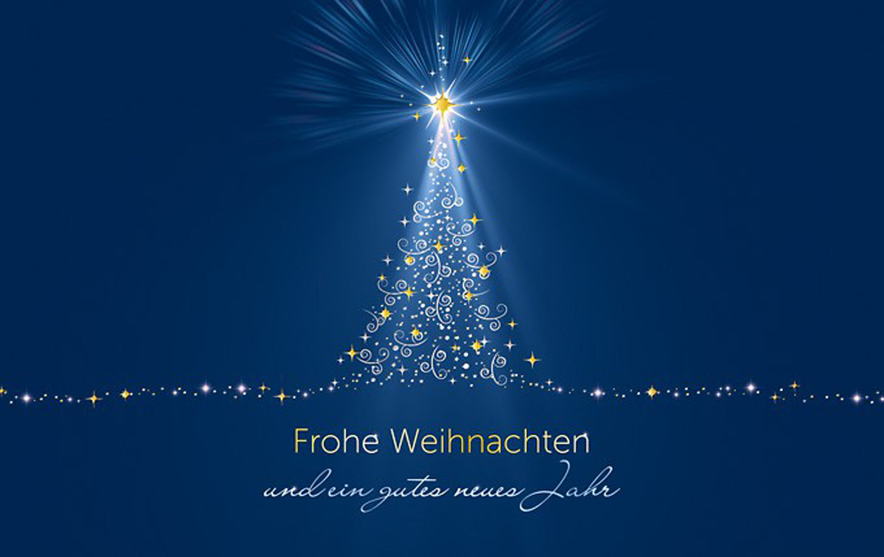 Grußkarte Weihnachten Leuchtzauber blau