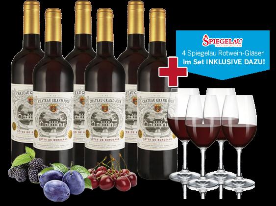Vorteilspaket 6 Flaschen Château Grand Jour inkl. 4 Gläser