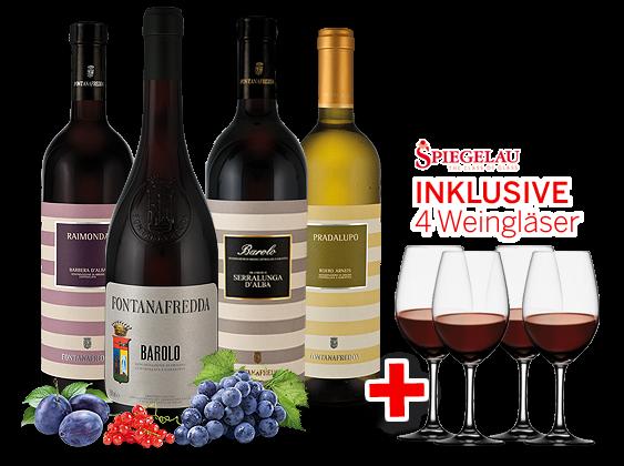 Kennenlernpaket Fontanafredda aus Piemont inkl. 4 Gläser