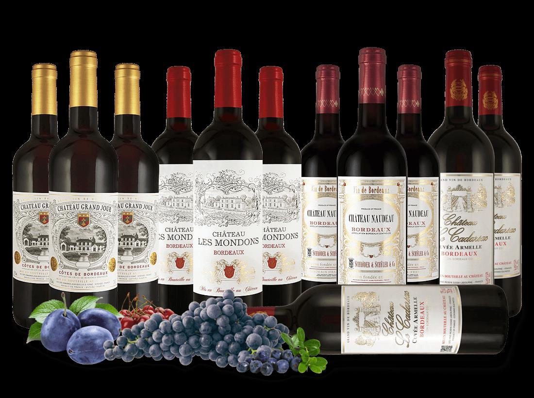 Bordeaux-Entdeckerpaket ´´Rotweine von Familien-Châteaux´´7,78? pro l