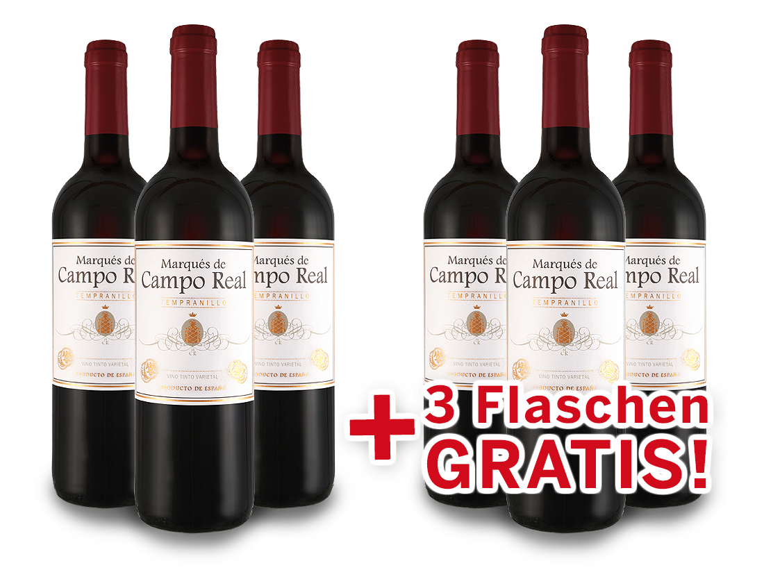 Vorteilspaket 6 für 3 Tempranillo Marqués de Campo Real7,26? pro l